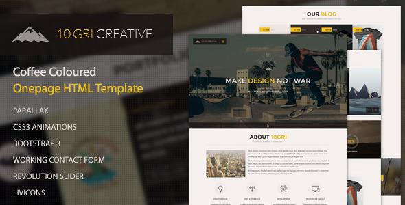 دانلود قالب HTML تک صفحه ای 10GriCreative