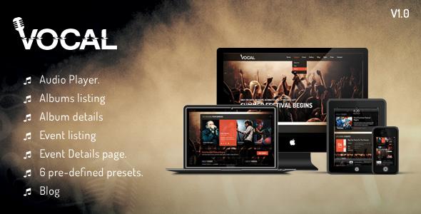 دانلود قالب HTML موزیک Vocal