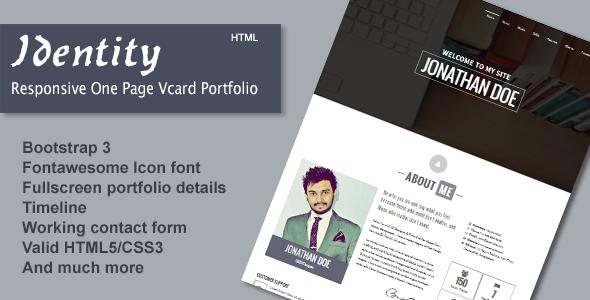 دانلود قالب HTML تک صفحه ای شخصی Identity