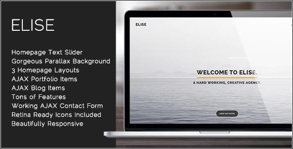 دانلود قالب HTML تک صفحه ای Elise
