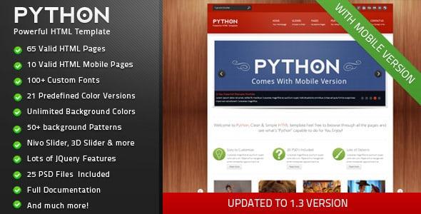 دانلود قالب HTML سایت Python