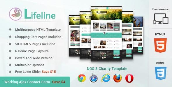 دانلود قالب HTML خیریه Lifeline