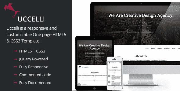 دانلود قالب HTML تک صفحه ای Uccelli