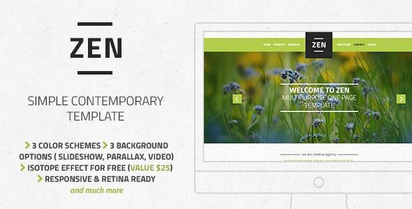 دانلود قالب HTML تک صفحه ای Zen