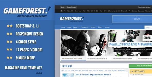 دانلود قالب HTML مجله بازی GameForest
