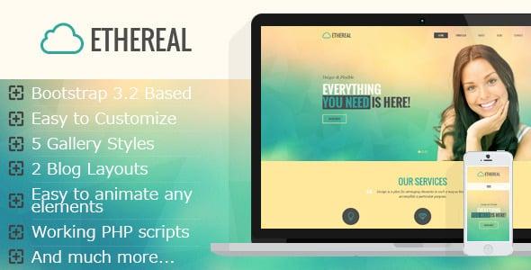 دانلود قالب HTML چندمنظوره و پارالاکس Ethereal