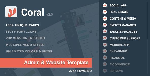 دانلود قالب HTML مدیریت استارت آپ و اپلیکیشن CORAL