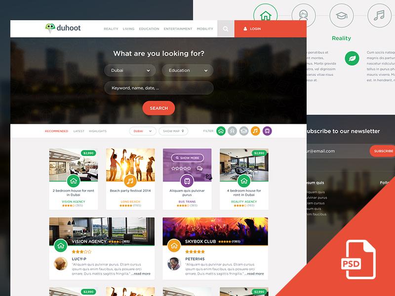 دانلود قالب فتوشاپ سایت Duhoot Portal