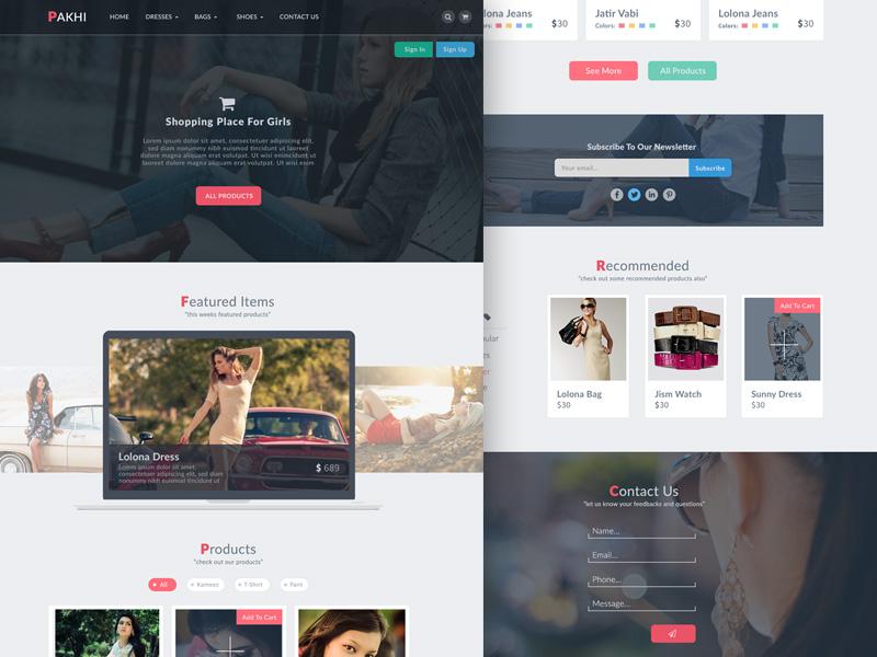 دانلود قالب فتوشاپ سایت فروشگاهی Pakhi E-commerce