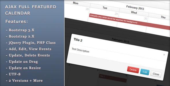 دانلود اسکریپت PHP ای جکس تقویم Ajax Full Featured Calendar