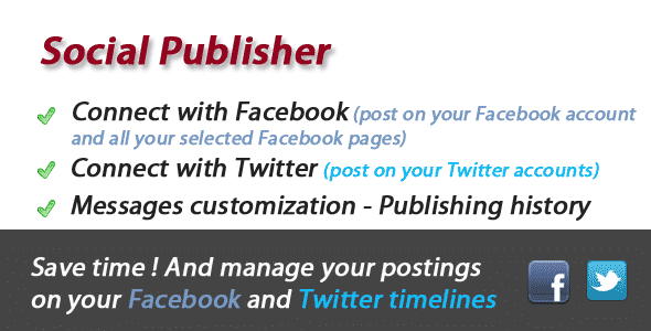 دانلود اسکریپت PHP اشتراک گذاری Facebook and Twitter Social Publisher