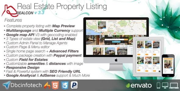دانلود اسکریپت PHP دایرکتوری املاک راست چينRealcon Real Estate Property Listing