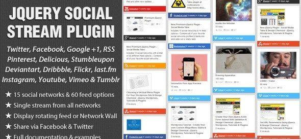 دانلود اسکریپت جی کوئری نمایش شبکه های اجتماعی jQuery Social Stream