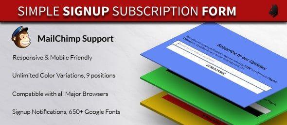 دانلود اسکریپت فرم عضویت در خبرنامه Simple Subscription Popup-jQuery Email Signup Form