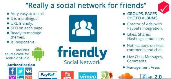 دانلود اسکریپت PHP شبکه اجتماعی Friendly Social Network