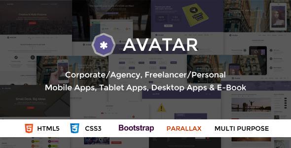 دانلود قالب HTML تک صفحه ای و پارالاکس Avatar